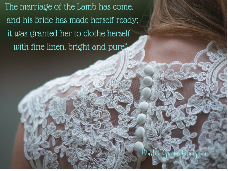Why? Because it will be all about forgiveness. It will be because I was bought with the precious blood of Jesus and was redeemed...not because I earned it. #brideofChrist #marriagesupperoflamb