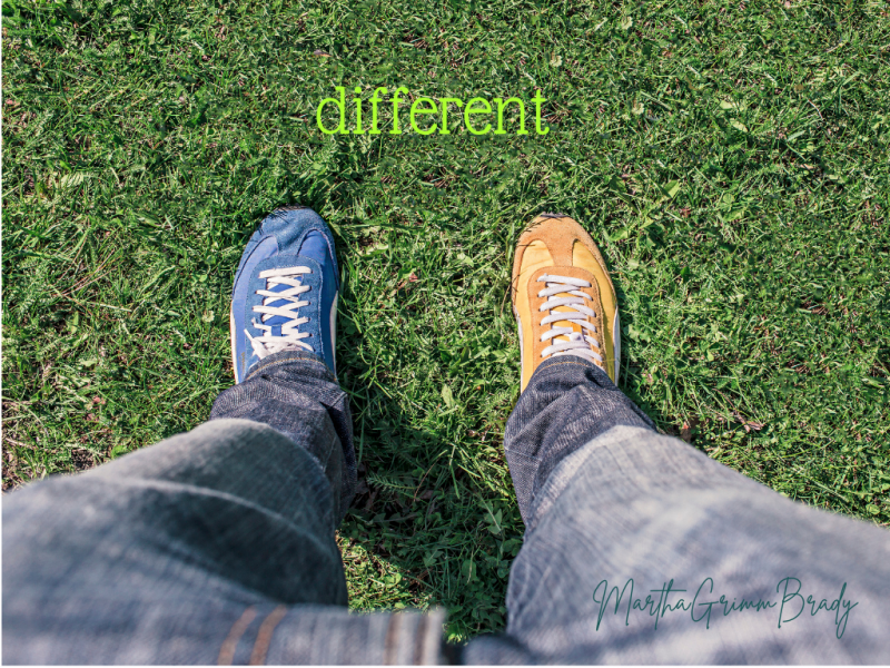 Differences bring needed variety to life. Sometimes we need differences, other times, we bring different. #different #fiveminutefriday #marthagrimmbrady