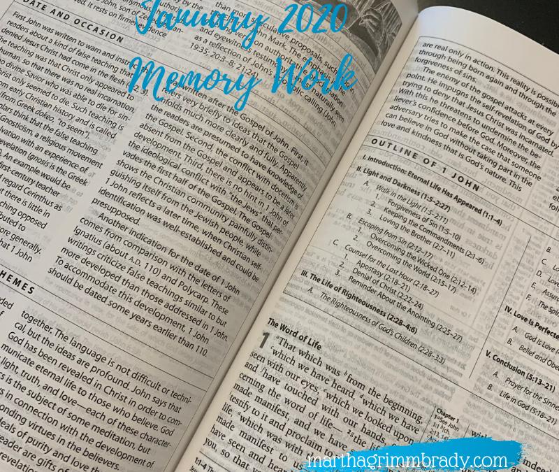 JANUARY 2020 MEMORY WORK…