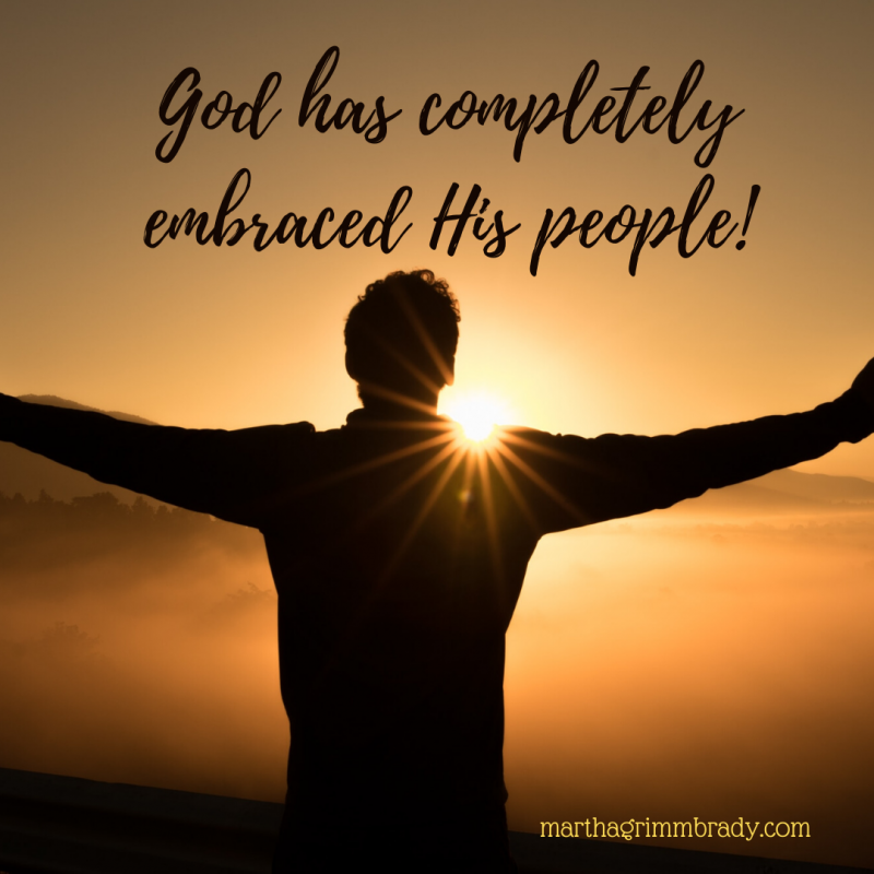 God completely embraced His people through Jesus when He died on the cross to pay for our sin...then rose from the dead to show His victory over sin and death! That's what Easter was about. #frominvisibletoembraced, #Jesusembracedusonthecross, #marthagrimmbrady