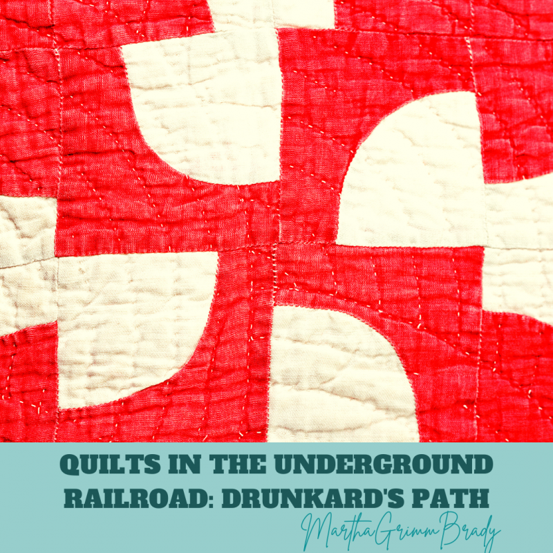 Today we are looking at the patches Drunkard's Path and Bear's Paw. They were used to warn the slaves of dangerous places. #undergroundrailroad #quiltsofundergroundralroad #drunkardspath #bearspaw