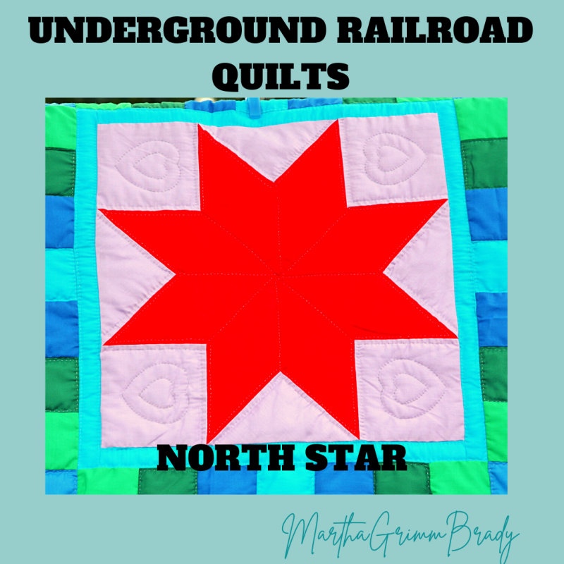 This week in Quilts on the Underground Railroad, we are covering the North Star block. It is one of the first star blocks I learned...under a different name. The second block is the Flying Geese block. It is also often an early block we learn to make. These were used as rudimentary ways to guide the passengers on their journey north. #underground railroad #undergroundrailroadquilts