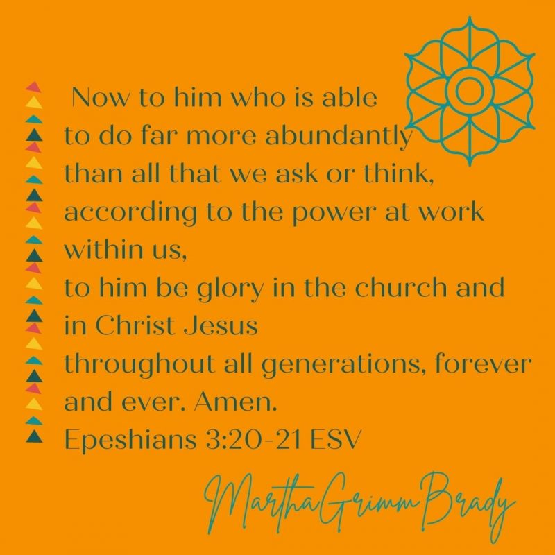 Abundantly. That is how God's work in us is described. The work God does in us is described as abundantly more than we could ask or think! #abundantlymore #thebenediction #blessing #Godspower #Godscharacter