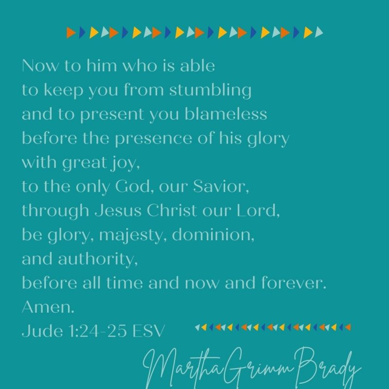 He is able to keep you from stumbling & present you blameless. This is the same God who is glorious, majestic & has all dominion & authority! #thebenediction #keepyoufromstumbling #allglorymajestydominionandauthority