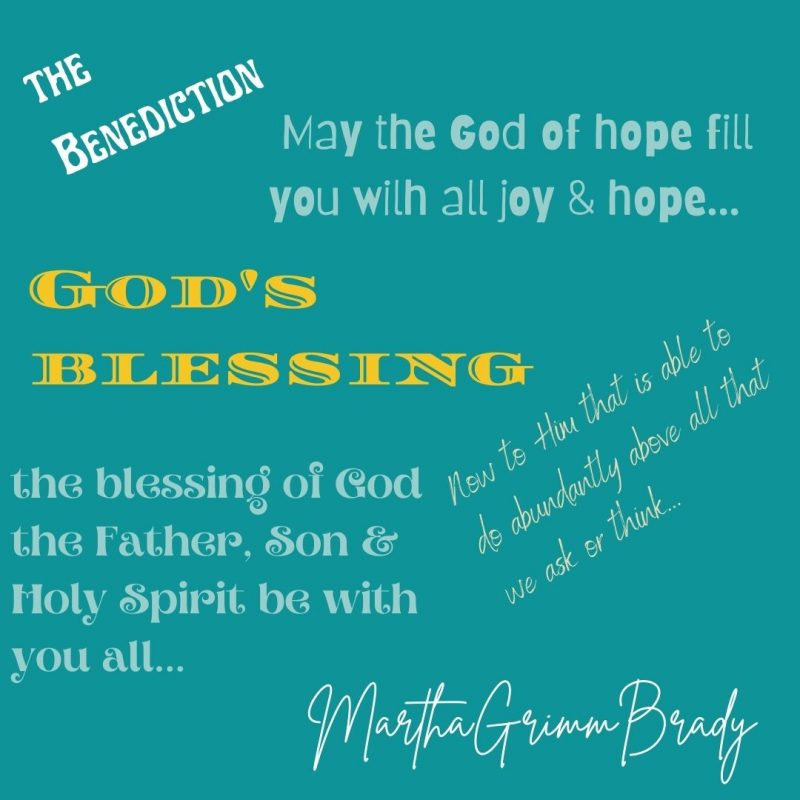 The benediction, formal or not, is simply an utterance bestowing a blessing over us. Yes, the easy word is blessing. We can listen to God's words of blessing to us and give them to others too. #thebenediction #godsblessing #blessingofgod