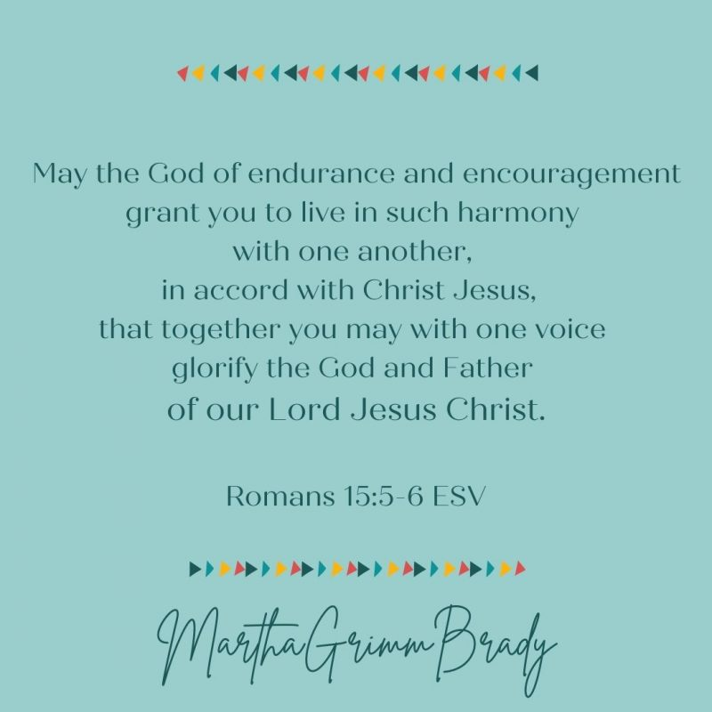 """""""May the God of endurance & encouragement grant you to live in harmony with one another."""" How is that for a benediction? Wow! #thebenediction #encouragementandendurance #liveinharmonywithoneanother #thisiswhatbringsglorytoGod"""